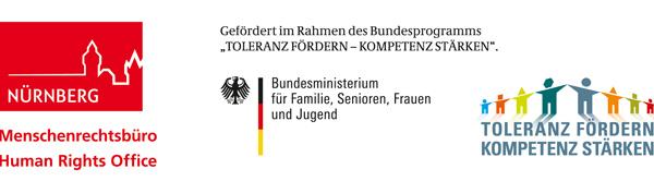 """Logos der Stadt Nürnberg - Menschenrechtsbüro, des Bundesministeriums für Familie, Senioren, Frauen und Jugend sowie des Bundesprogramms """"Toleranz fördern - Kompetenz stärken"""""""